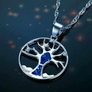 Hollow Tree of Life Pendant Necklace Blue Imitatio